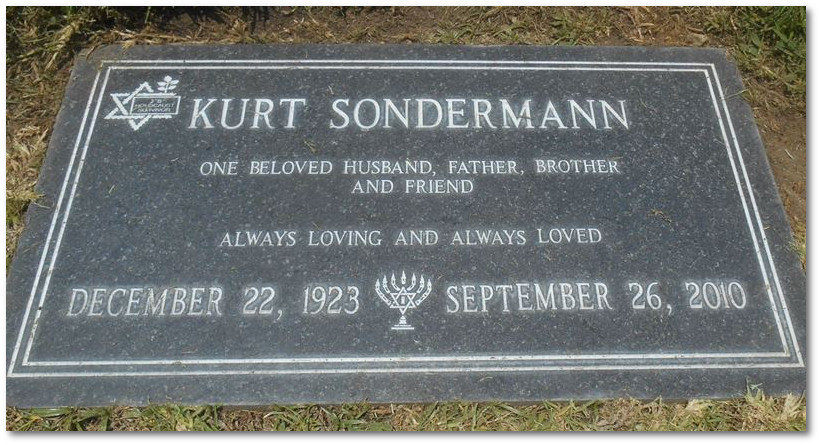 Grabstein Kurt Sondermann in den USA
